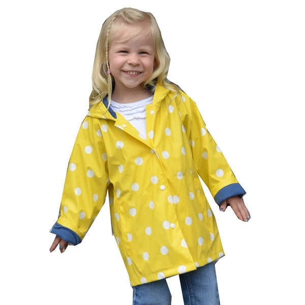 Foxfire Girls Yellow White Polka Dotted Print Trendy Raincoat 8-10