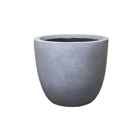17 in. Tall Lightweight Modern Concrete Round Indoor/Outdoor Planter, Slate Gray