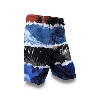 Waves and Palm Trees Blue, Red and Gray Board Shorts