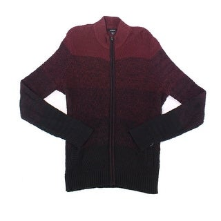 Alfani Port Red Mens Medium M Ombre Knit Full Zip Cardigan Sweater