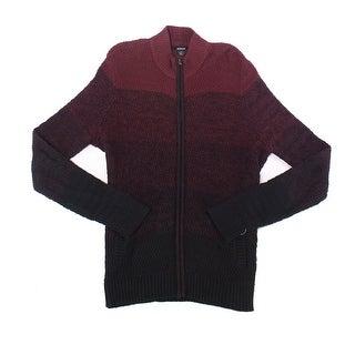Alfani Purple Black Ombre Mens Size 3XL Full Zip Cotton Sweater