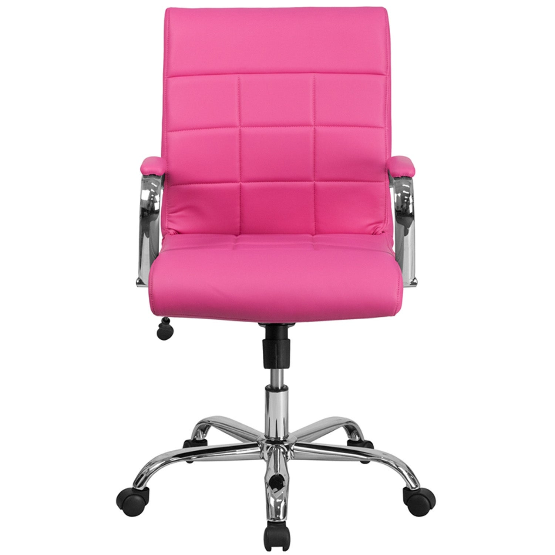 Surprising Aberdeen Mid Back Pink Vinyl Executive Swivel Chair W Chrome Base Arms Machost Co Dining Chair Design Ideas Machostcouk