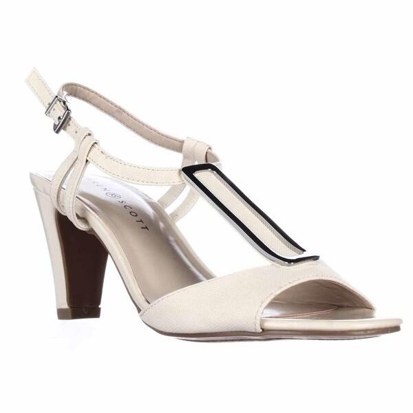 KS35 Lorah Metal T-Strap Dress Sandals, Bone