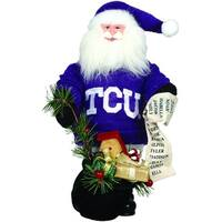 "10"" NCAA TCU Horned Frogs Gift Bearing Santa Claus Christmas Table Top Figure"