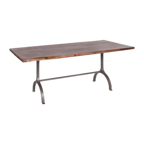 Dala Industrial Iron & Acacia Natural Edge Dining Table
