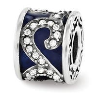 Sterling Silver Reflections Swarovski Elements Blue Filigree Cage Bead (4mm Diameter Hole)