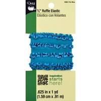 "Tile Blue - Dritz Ruffle Elastic 5/8""X1yd"