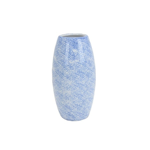 Textured Ceramic Vase with Round Opening, Light Blue and White