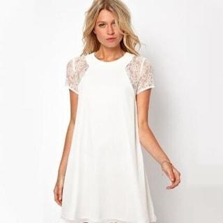 Round neck lace chiffon short sleeve dress