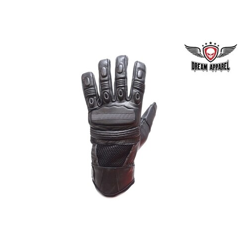 Men's Top Quality Leather Motorcycle Gloves With Air-Vents - Size - M