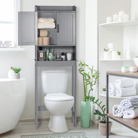 VEIKOUS Bathroom Over The Toilet Storage Cabinet Organizer With Doors and Shelves