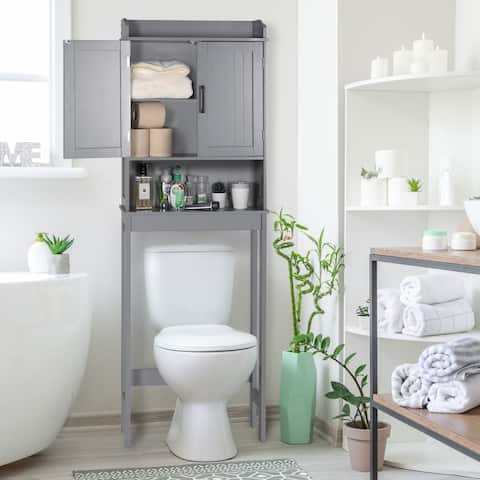Veikous BathroomOver-The-Toilet StorageCabinetOrganizerwithDoorsandShelves