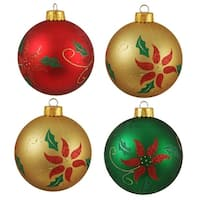 "4ct Glittered Poinsettia Shatterproof Christmas Ball Ornaments 3.25"" (80mm)"
