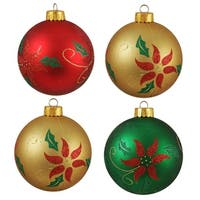 "4ct Glittered Poinsettia Shatterproof Christmas Ball Ornaments 3.25"" (80mm) - multi"