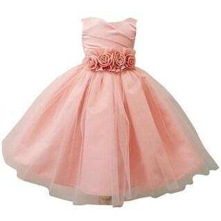 Baby Girls Blush Rosette Embellished Waist Overlaid Flower Girl Dress
