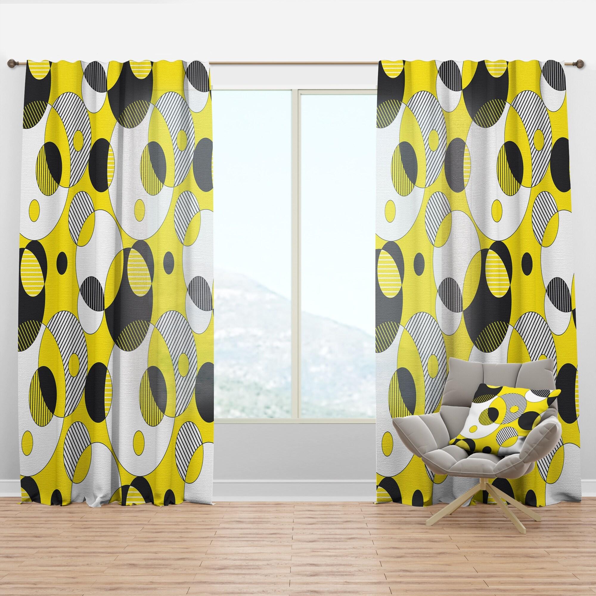 Designart Circular Abstract Retro Geometric I Mid Century Modern Curtain Panel Overstock 29626008