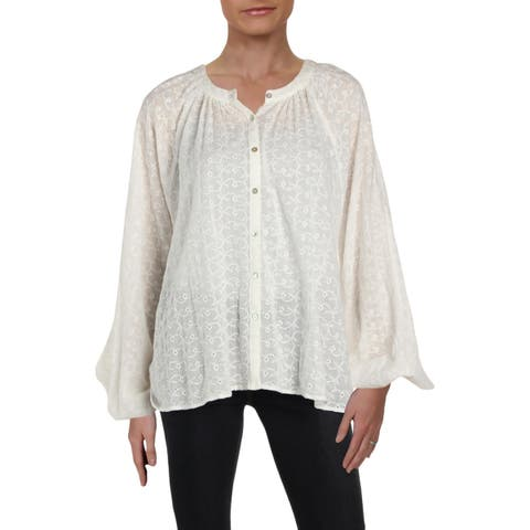 Free People Womens Button-Down Top Embroidered Cuff Sleeves