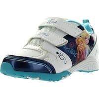 Disney Girls Frozen Princess Elsa And Anna Fashion Sneakers - White/Blue
