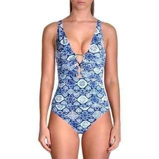 Lauren Ralph Lauren Womens Printed Loop-Front One-Piece Swimsuit