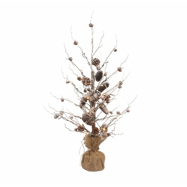 3' Winter Light Pre-Lit Frosted Snowy Pine Cone Artificial Christmas Twig Tree - Warm Clear Lights - brown
