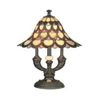 """19"""" Antique Bronze Amber, and Pink Peacock Hand Crafted GlassTable Lamp"""