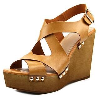 Fergalicious Lauren Women Open Toe Synthetic Tan Wedge Sandal