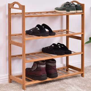 Costway 4-Tier Bamboo Shoe Rack Entryway Shoe Shelf Storage Organizer Home Furniture