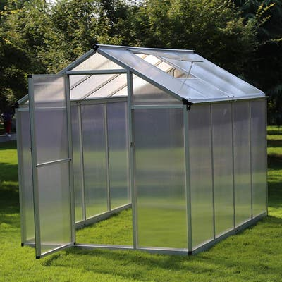 Outsunny Stable Outdoor Walk-In Garden Greenhouse with Roof Vent for Plants, Herbs, & Vegetables, 8'L x 6.25'W