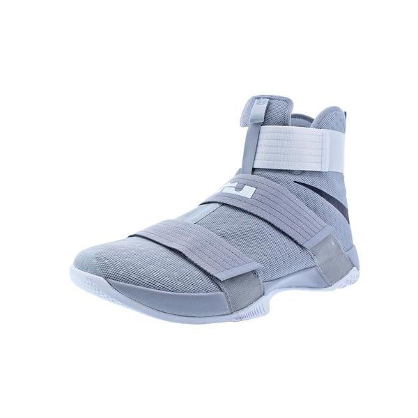 fb396f5fe54 Nike LeBron Soldier 10 Men  x27 s Mesh High-Top Basketball Shoes Gray