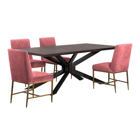 5 Piece Dining Set with Diamond Stitched Back, Pink