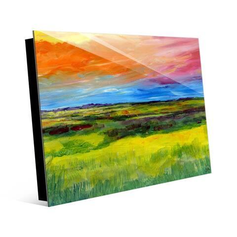 Kathy Ireland Colorful High Plains Abstract Landscape on Acrylic Wall Art Print