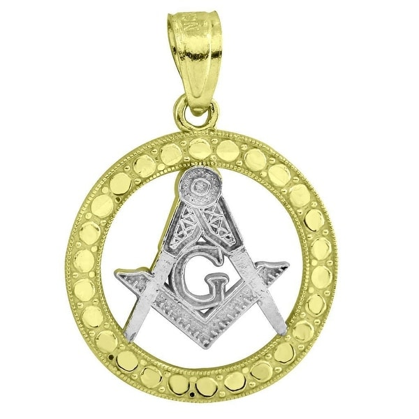 "10k Yellow White Gold Pendant Freemason Masonic G MIcro 0.9"" Charm Ladies Mens"