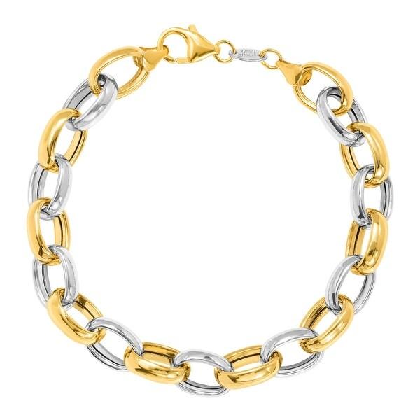 Two-Tone Rolo Link Bracelet 14K Gold-Bonded Sterling Silver