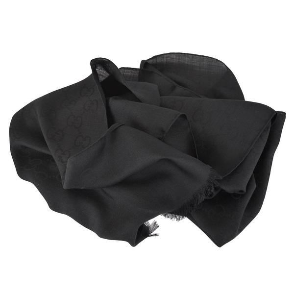 Gucci 165904 Women's Black Wool Silk GG Guccissima Logo Scarf Muffler