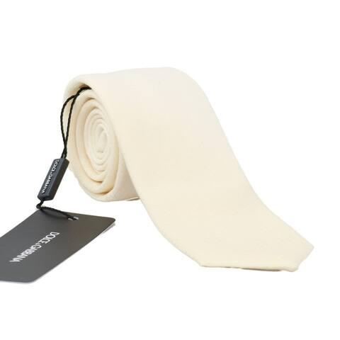 Dolce & Gabbana White Wool Silk Patterned Men's Tie - One Size