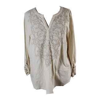 Style & Co Cream Long-Sleeve Embroidered Split Neck Henley Blouse S