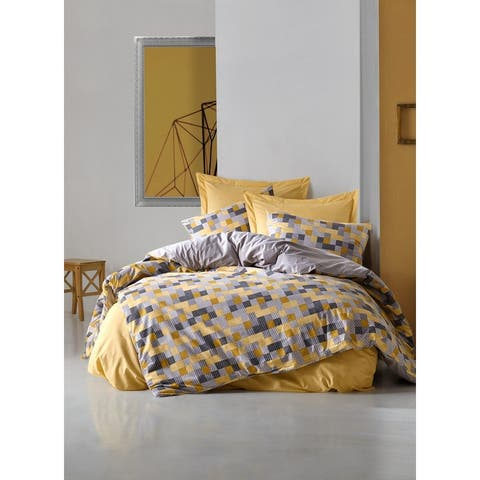 SUSSEXHOME Yellow Geometry Full Size Duvet Cover Set, Hypoallergenic