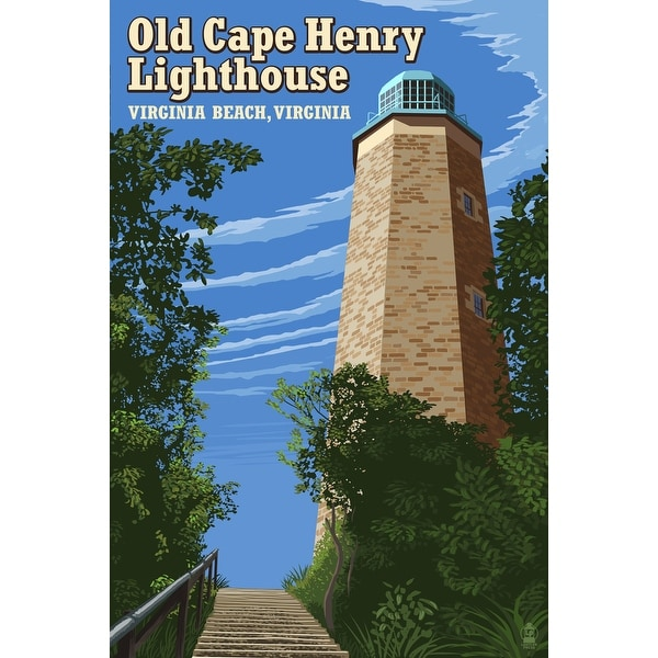 VA Beach Old Cape Henry Lighthouse - LP Artwork (100% Cotton Towel Absorbent)