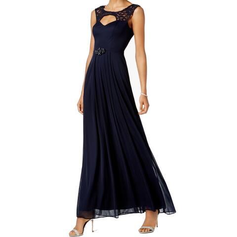 d733acbe6a7 Betsy   Adam Blue Women s 4 Sequin Floral Lace Maxi Gown Dress