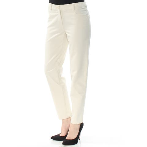 ANNE KLEIN Womens Ivory Straight leg Wear To Work Pants Size: 0
