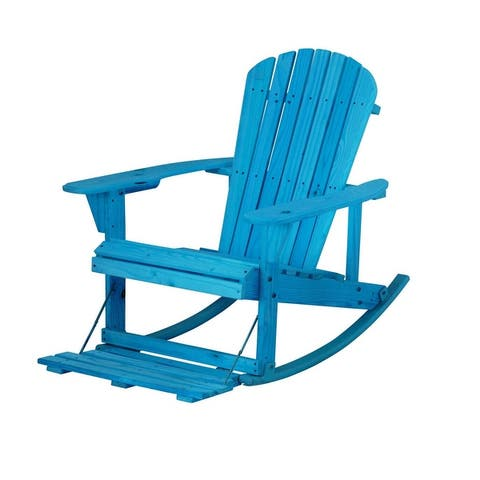 Zero Gravity Collection Adirondack Rocking Chair with Built-in Footrest