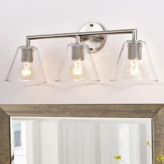 3 Light Clear Glass Vanity Light Fixture