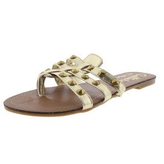 Callisto Womens Rose Faux Leather Studded Thong Sandals