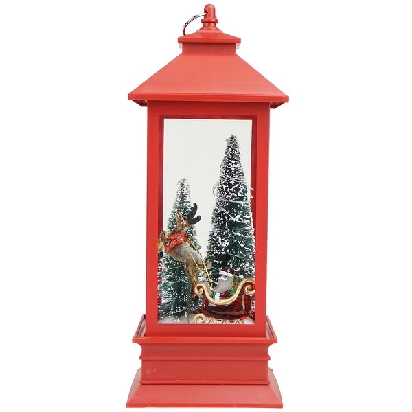 """10.5"""" Santa with Trees Red LED Lighted Christmas Lantern Tabletop Decoration"""