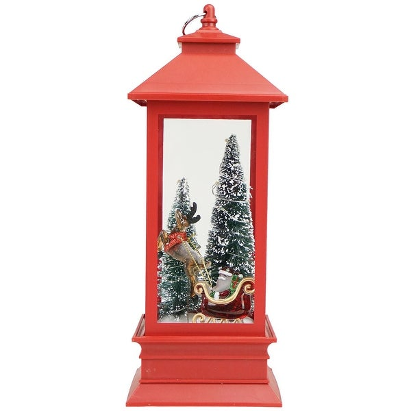 """10.5"""" Red and White Santa with Trees Christmas Lantern Tabletop Decoration - LED Lights"""