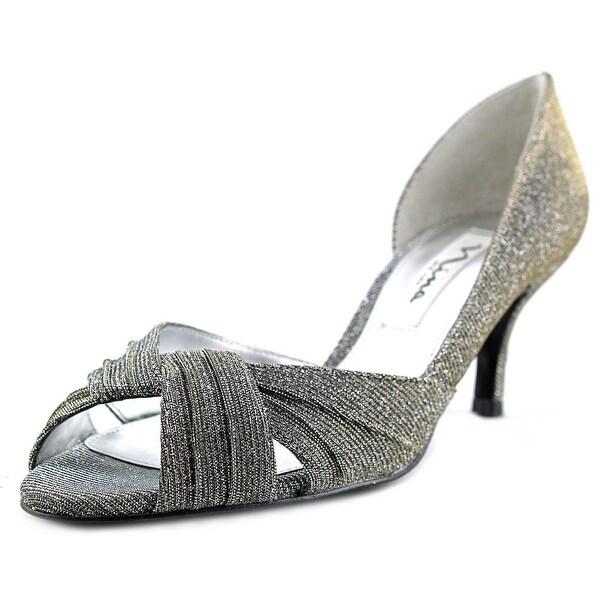 Nina Carrie Women Peep-Toe Canvas Silver Heels