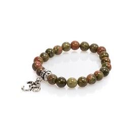 Natural Stone Meditation Stretch Bracelet Tibetan Mala with Good Luck Om Charm, Jasper, Green Brown