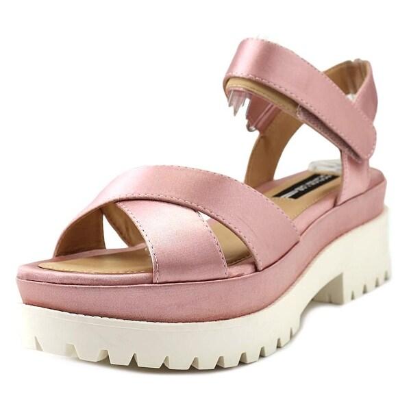 Design Lab Lord & Taylor Faima Women Open Toe Canvas Pink Platform Sandal
