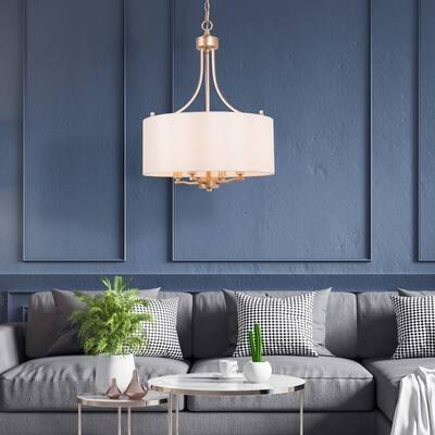 Bella Modern 4-light Gold Drum Chandelier Fabric Shade Hanging Lights - D15.7'' X H81.5''