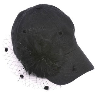 Womens Fashion Baseball Cap w/ Veil